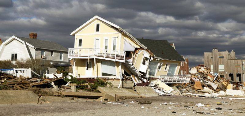 Houses destroyed by hurricane
