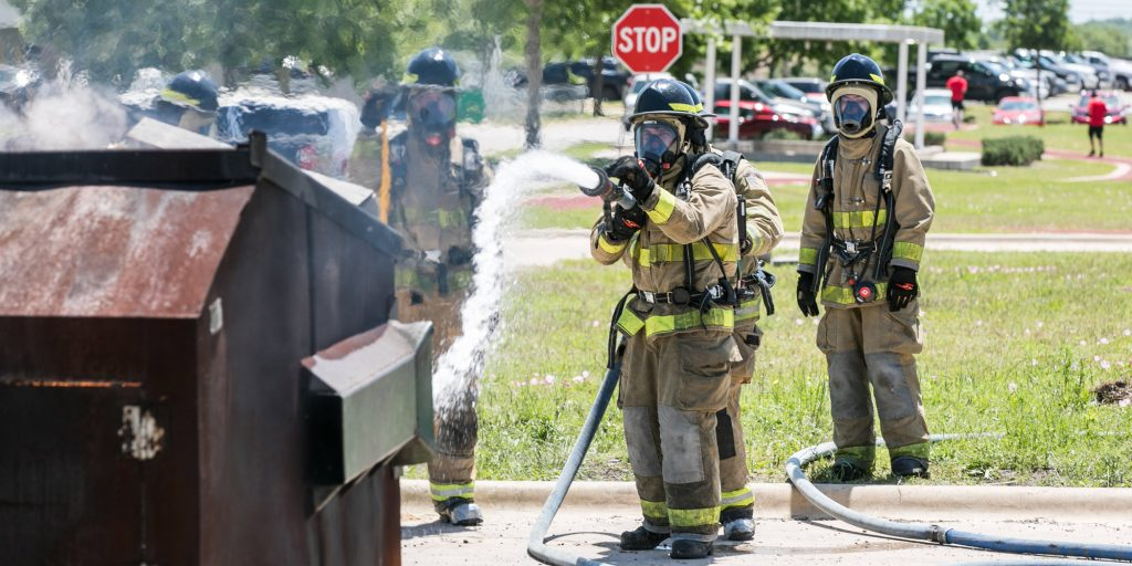 Students training for firefighting